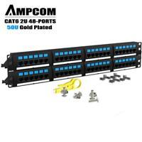 AMPCOM Supreme Series CAT6 48 Ports Patch Panel - 2U, 19 inch, 50u Gold Plated