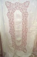 VINTAGE ANTIQUE LINEN TABLECLOTH WITH NEEDLE LACE INSERTIONS & BORDERS SS475