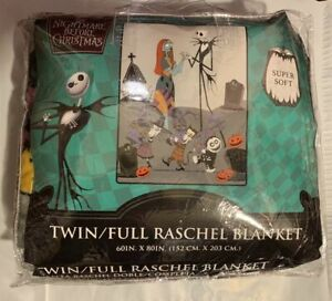 Nightmare Before Christmas Twin Full Raschel Blanket throw