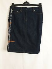 Iceberg Jeans Blue Graffiti Denim Pencil Skirt Size 24