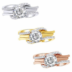 IGI CERTIFIED 1/5 Ct  Round Cut Real Diamond 10K Gold Guard Wrap Wedding Band