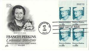 2 '80 FDCs Frances Perkins Centennial First Woman Cabinet member PB SC#1821