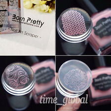 Nail Art Stamper with Cap Clear Jelly Silicone Marshmallow Stamper & Scraper