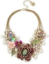 NWT - $195 BETSEY JOHNSON BLOOMING BETSEY FLOWER & PEARL STATEMENT NECKLACE PINK