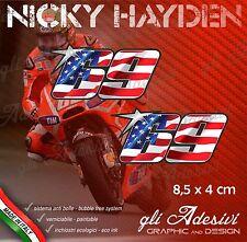2 Adesivi Stickers HAYDEN 69 numero cupolino replica USA flag 8,5 x 4,0 cm