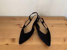Schutz black suede slingback pointy flats shoes sz 7B