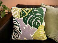MONSTERA LEAF Tropical Barkcloth Pillow Cover - Vegan Vintage