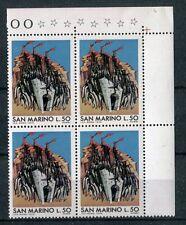 San Marino 1975 Scampo dei centomila in QUARTINA Mnh