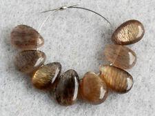 Natural Flashing Moss Moonstone Smooth Polish Pear Briolette Gemstone Beads 001