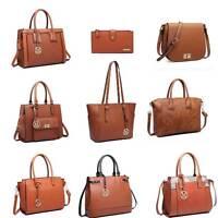 Ladies Fashion Designer PU Leather Handbag Tote Shoulder Bag Backpack Brown