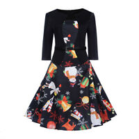 Women's Vintage Print 3/4 Sleeve Casual Christmas Evening Party Swing Dress New