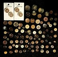 Lot Of 100 Assorted Vintage Earth Tone Buttons