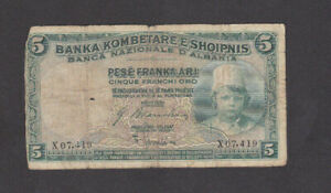5 FRANKA ARI VG BANKNOTE FROM ALBANIA 1926 PICK-2