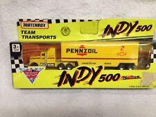 1/87 Matchbox 1992 #2 Team Pennzoil Transporter with Peterbilt Tractor