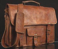 Vintage Goat Leather messenger Real satchel bag genuine Laptop brown briefcase