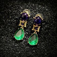 orecchini A perno Art Deco Perla Goccia Blu Verde Antico Regalo AA 4