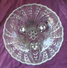 Vintage Anchor Hocking Fire King Burple Clear Footed Hostess Serving Bowl