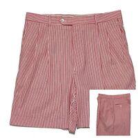 Berle Seersucker Bermuda Shorts 35 x 7.5 Striped Red Beachy Preppy Pleated