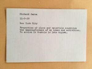 RICHARD SERRA card 1969 Lucy Lippard 557,087 exhibit seattle vancouver B
