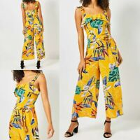 NEW RRP £36 Ex Dorothy Perkins - Tall Orange Tropical Print Frill Jumpsuit