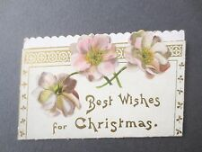 ANTIQUE Christmas Greetings Card Die Cut  Pink Roses Fancy Edge 1900s