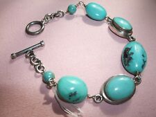 BRACCIALE ARMBAND BRACELET TURCHESE TURQUOISE ARGENTO 925 20 cm STERLING SILVER