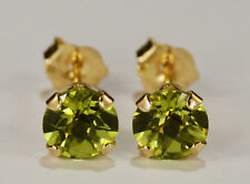 BEENJEWELED GENUINE NATURAL MINED PERIDOT EARRINGS~14 KT YELLOW GOLD~5MM