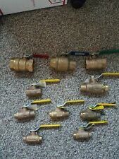 LOT OF 10   Brass Ball Valves (Sizes 1 1/4