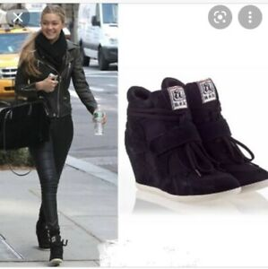 Ash Sneaker Wedge Boots Black Suede Celebrity - Size 39 - PAID $299
