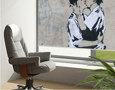 Printed Picture Roller Blind Banksy kissing coppers photo Blackout Window Blind