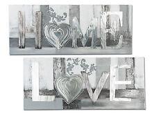 Exklusives Designer Wandbild LOVE oder Home mit Alu silber 100x40 cm