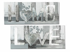 exclusiva Diseñador Mural Amor con aluminio PLATA 100x40 cm