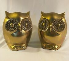 Pair of Solid Brass Owl Bookends VINTAGE Mid Century Modern Owls BIG EYES Korea
