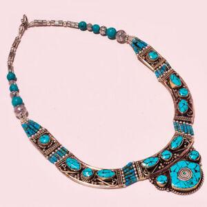 "Tibetan Turquoise Gemstone Ethnic Jewelry Nepali Necklace 18"" NN-1766"