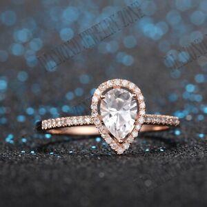 Solid 14K Rose Gold White Topaz Diamonds Gemstone Engagement Ring Fine Jewelry