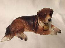 Old Seagrams Gin Advertisement Premium St Bernard Dog Figurine Whiskey Barrel