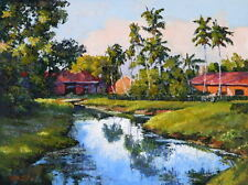 """Oil Painting """"Beautiful Houses w/ Palm Trees"""" 12x16 in."""