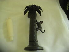 "Bombay Company Palm Tree Candlestick with Monkey 10"" Tall"