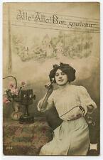 c 1910 Lady w/ Telephone Phone Antique French photo postcard