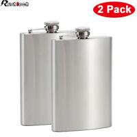 2-Pack 10 oz Liquor Pocket Hip Flask Stainless Steel Whiskey Screw Cap Flagon