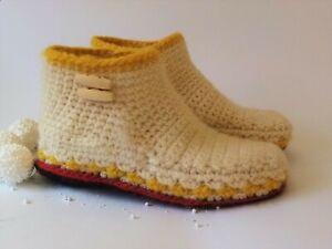 100% Wool slippers boots women *  Handmade Slippers * Crochet house shoes