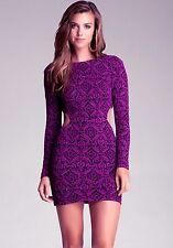 NWT Bebe black purple floral low back side cutout top dress long sleeve M medium
