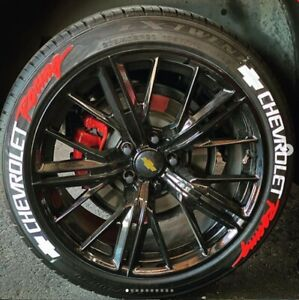 Permanent Tire Lettering Stickers CHEVROLET RACING 1.25  14' to 22' Tires (9pcs)