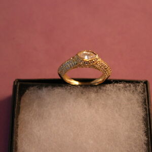 Beautiful 14 Carat Yellow Gold Ring With 2.10 Ct. Solitaire Diamond Size N 12