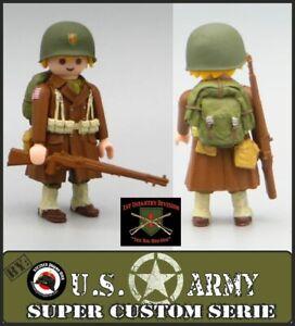 Playmobil Custom WW2 SOLDADO INFANTERIA EJERCITO USA Big Red 1 Americano Rifle