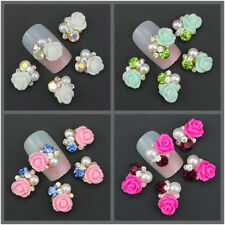 10Pcs 3D Rose Flower Crystal Rhinestone Nail Art Slices Studs Tips DIY Decor