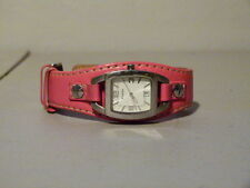 WOMENS FOSSIL SILVER FACE TONNEAU WIDE PINK LEATHER BAND WATCH JR 8302