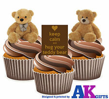 Teddy Bear Mix 12 Edible Cup Cake Toppers Birthday Baby Christening Decorations