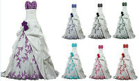 Embroidery Satin Wedding Dress Bridal Formal Gown Size/6-8-10-12-14-16-18
