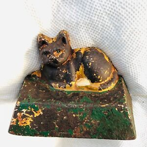 Antique Cat rug trapezoid base solid Cast Iron kitten Doorstop Figural door